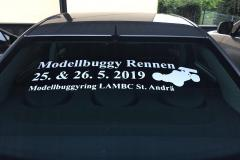 Werbebeklebung Modellbuggy